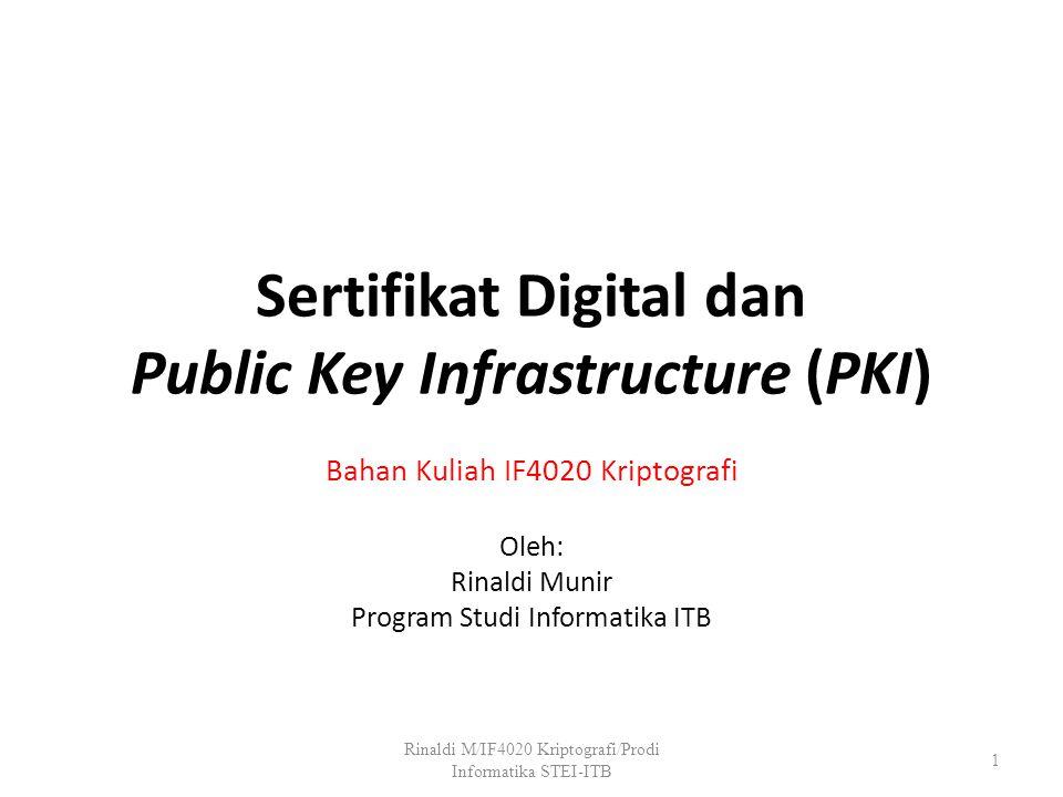 Sertifikat Digital dan Public Key Infrastructure (PKI)