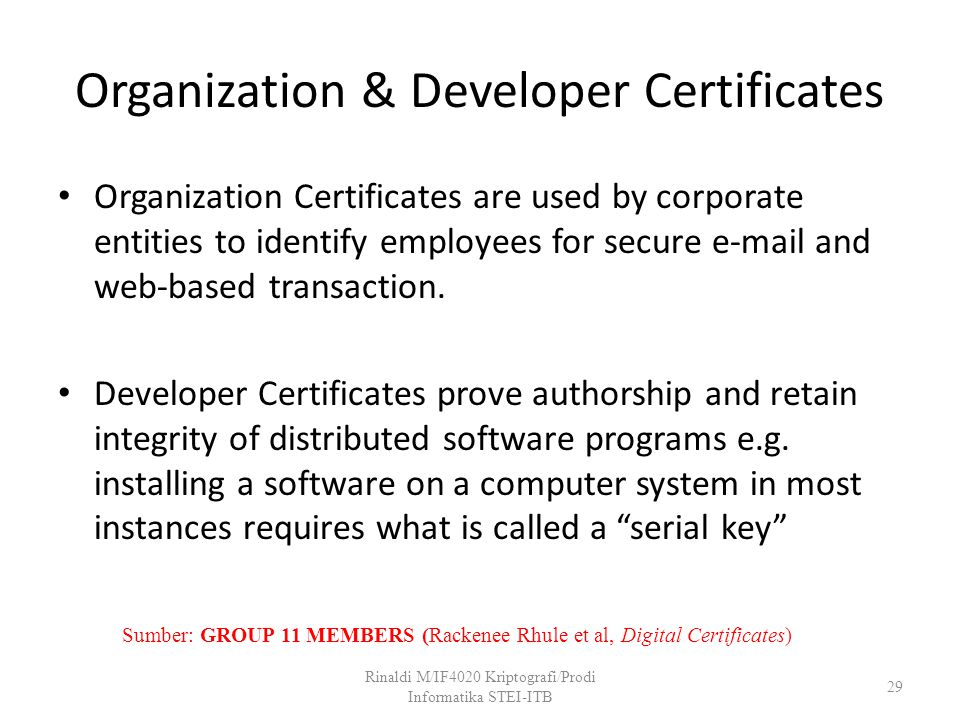 Organization & Developer Certificates