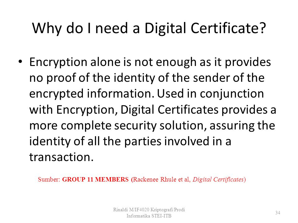 Why do I need a Digital Certificate