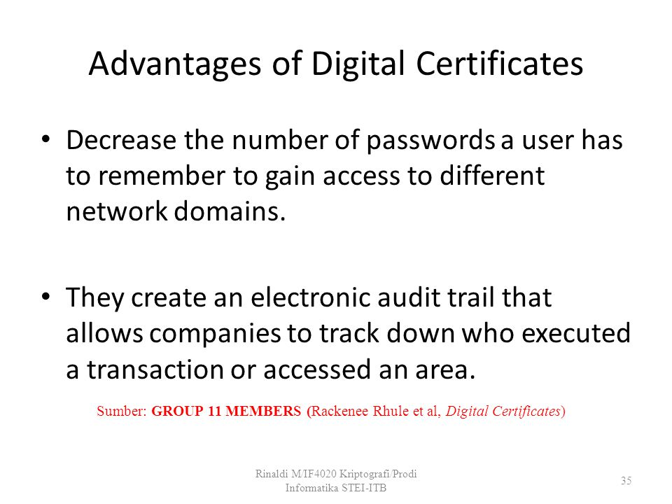 Advantages of Digital Certificates