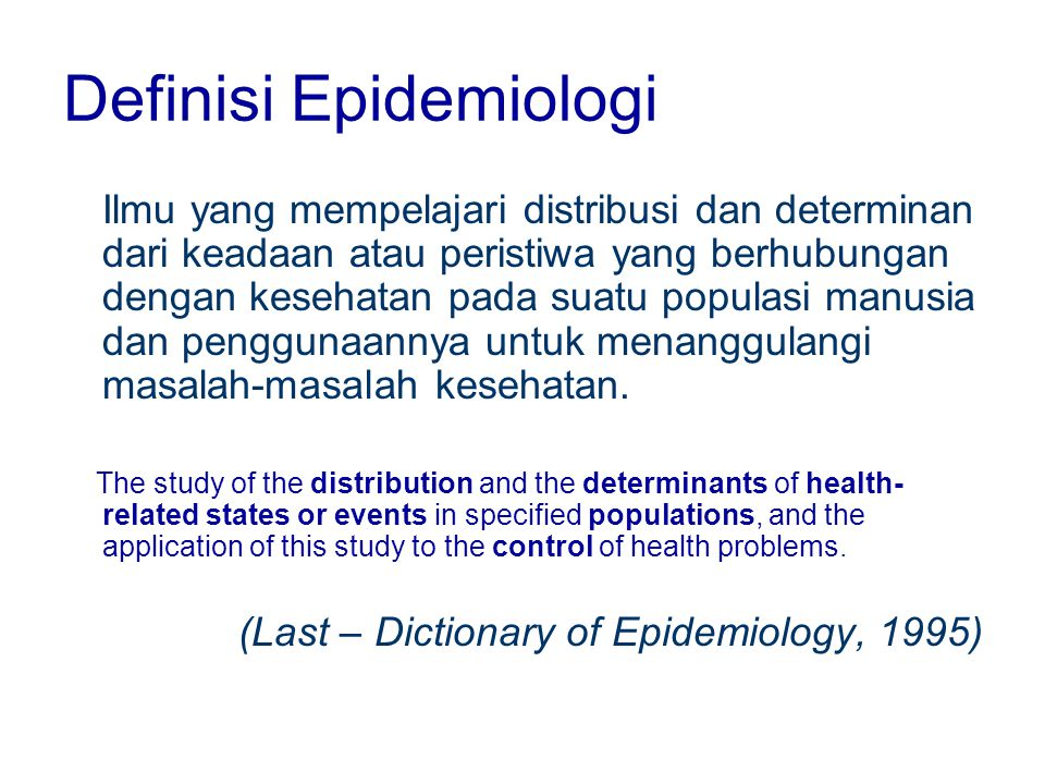 Definisi Epidemiologi