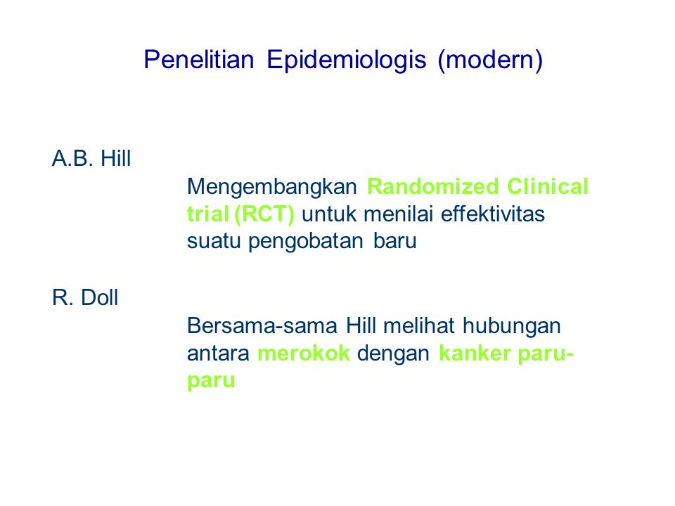 Penelitian Epidemiologis (modern)