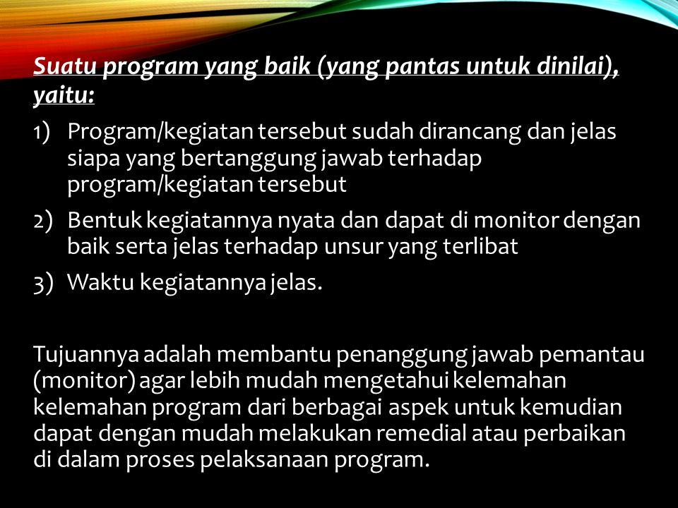 Suatu program yang baik (yang pantas untuk dinilai), yaitu: