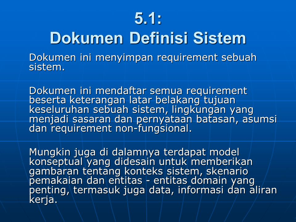 5.1: Dokumen Definisi Sistem