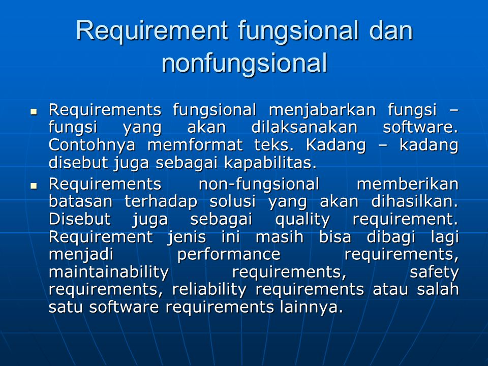Requirement fungsional dan nonfungsional