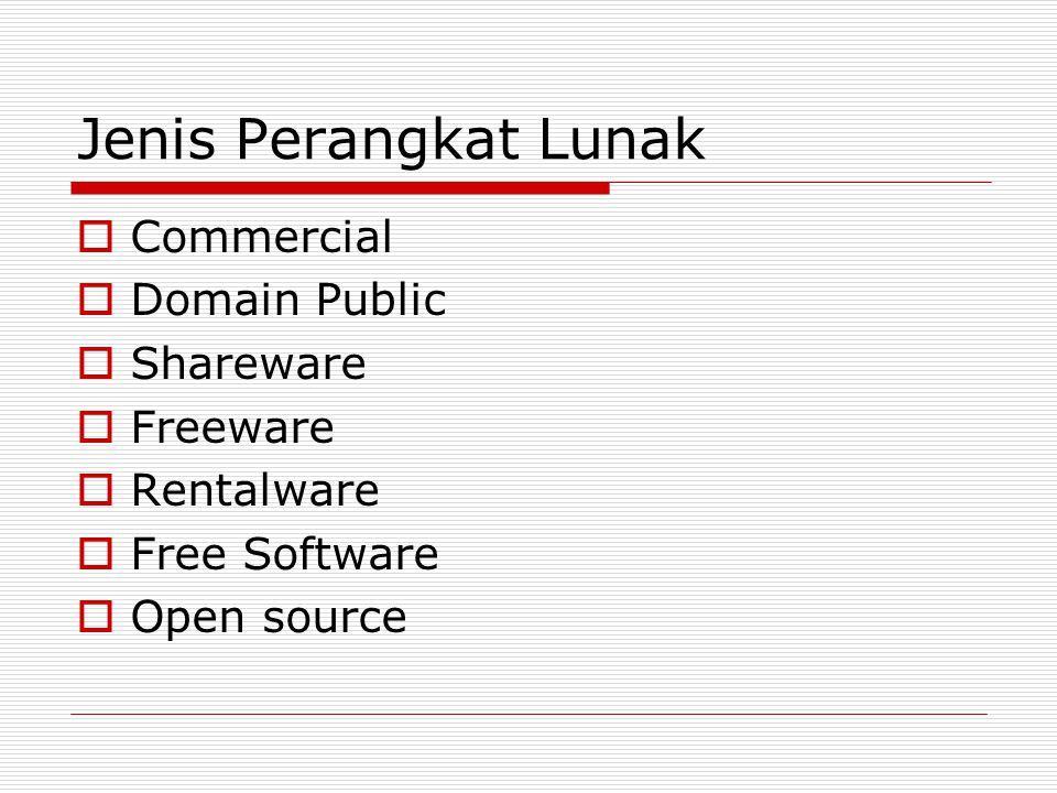 Jenis Perangkat Lunak Commercial Domain Public Shareware Freeware