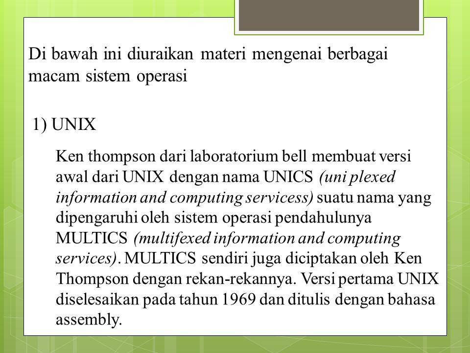 Di bawah ini diuraikan materi mengenai berbagai macam sistem operasi