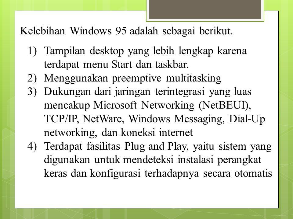 Kelebihan Windows 95 adalah sebagai berikut.