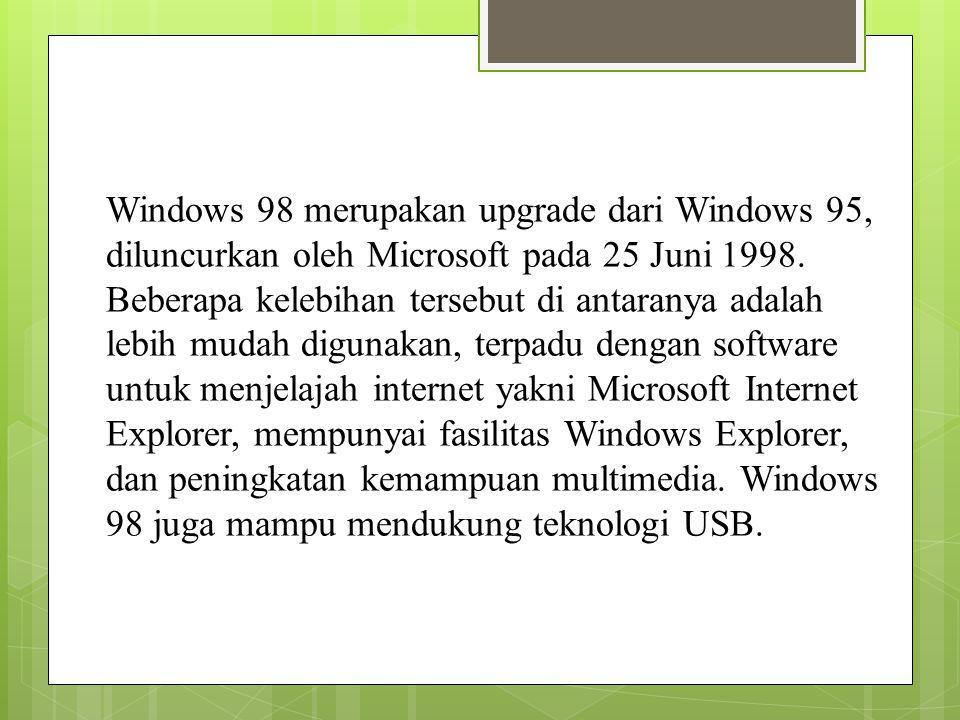 Windows 98 merupakan upgrade dari Windows 95, diluncurkan oleh Microsoft pada 25 Juni 1998.