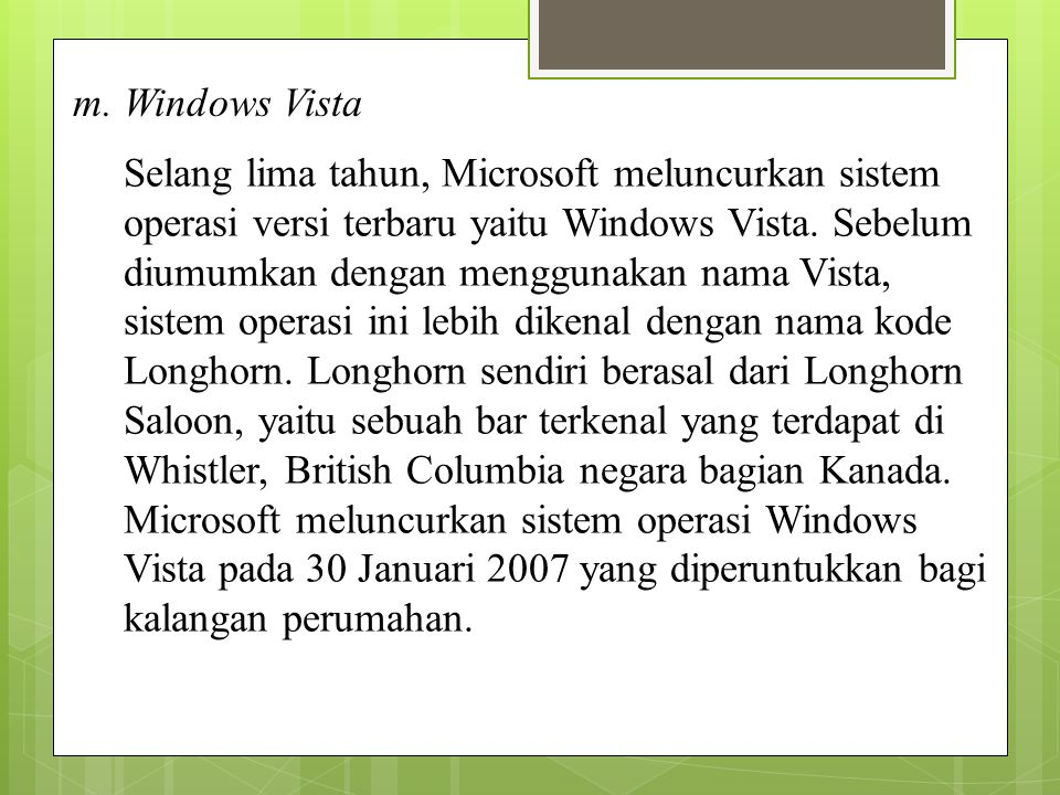 m. Windows Vista