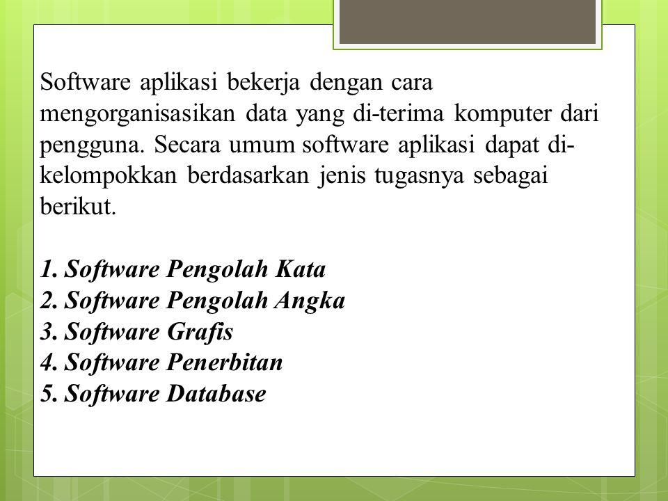 Software aplikasi bekerja dengan cara mengorganisasikan data yang di-terima komputer dari pengguna. Secara umum software aplikasi dapat di-kelompokkan berdasarkan jenis tugasnya sebagai berikut.