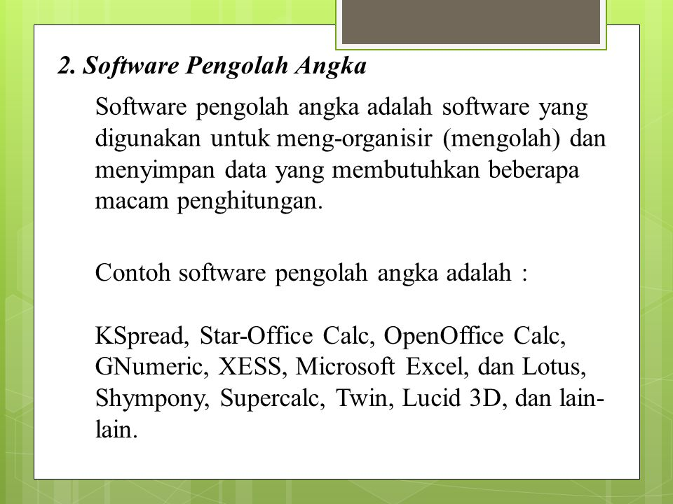 2. Software Pengolah Angka
