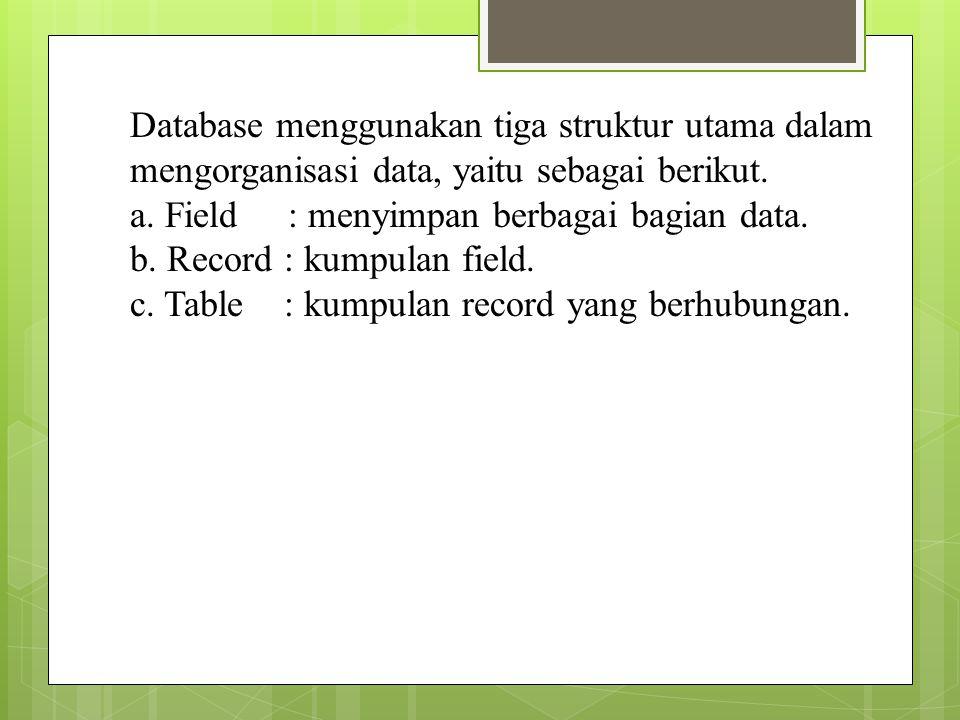 Database menggunakan tiga struktur utama dalam mengorganisasi data, yaitu sebagai berikut.