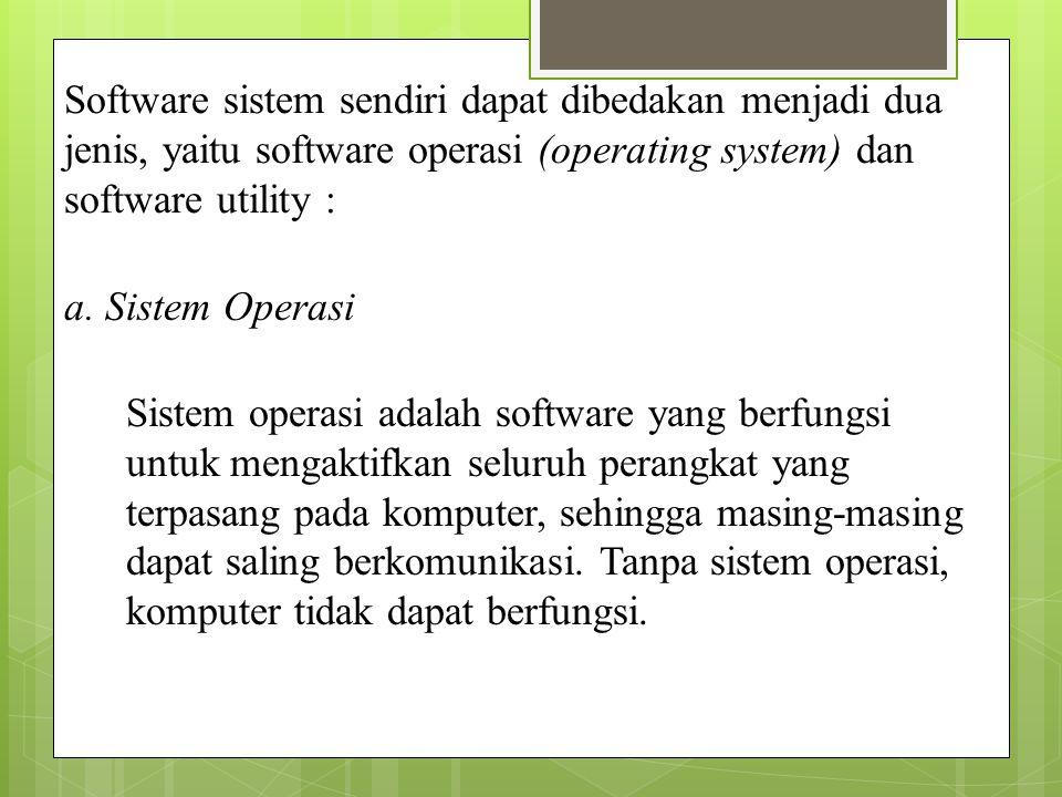 Software sistem sendiri dapat dibedakan menjadi dua jenis, yaitu software operasi (operating system) dan software utility :
