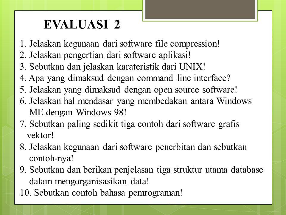 EVALUASI 2 1. Jelaskan kegunaan dari software file compression!