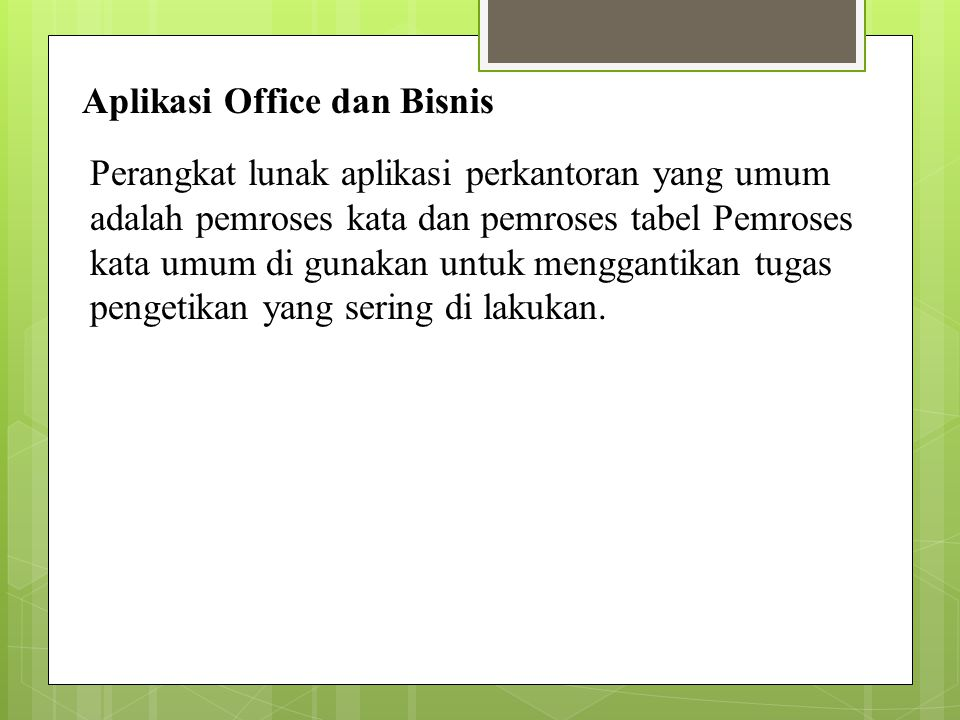 Aplikasi Office dan Bisnis