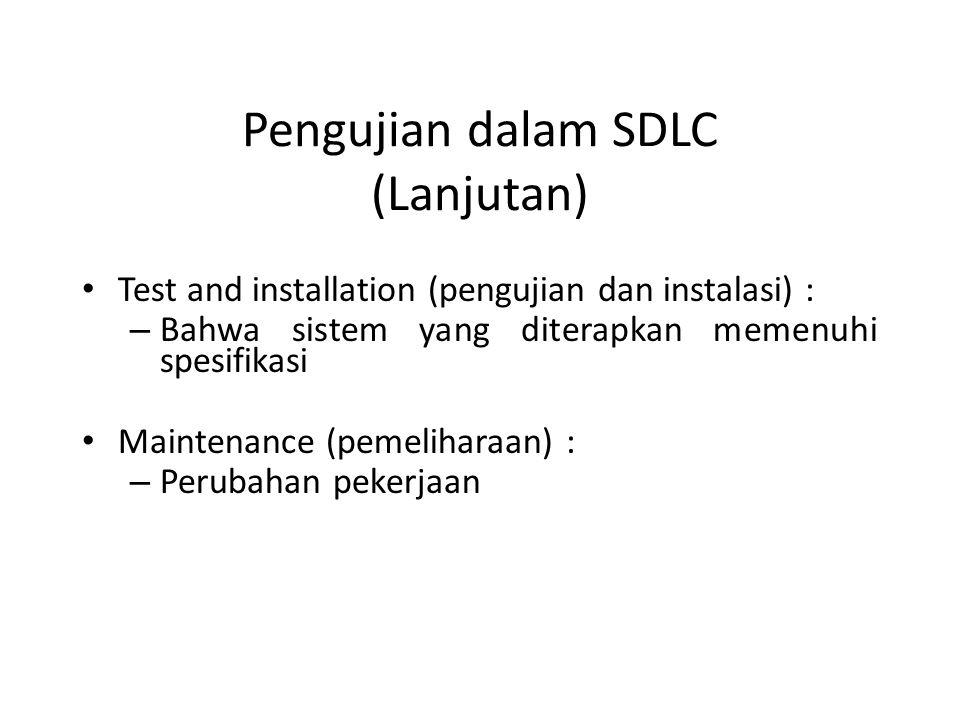 Pengujian dalam SDLC (Lanjutan)