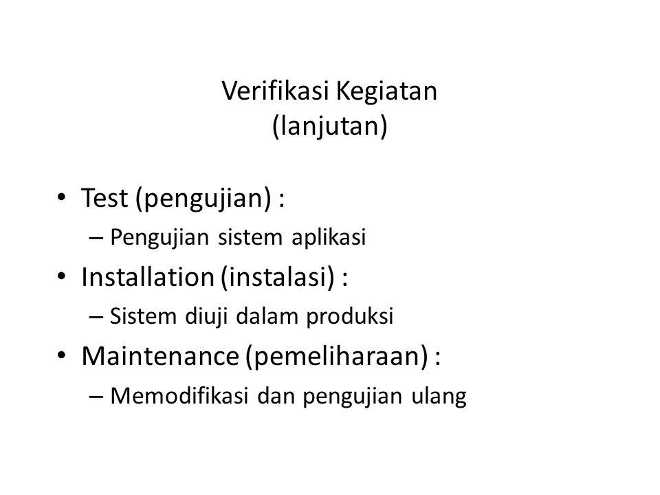 Verifikasi Kegiatan (lanjutan)