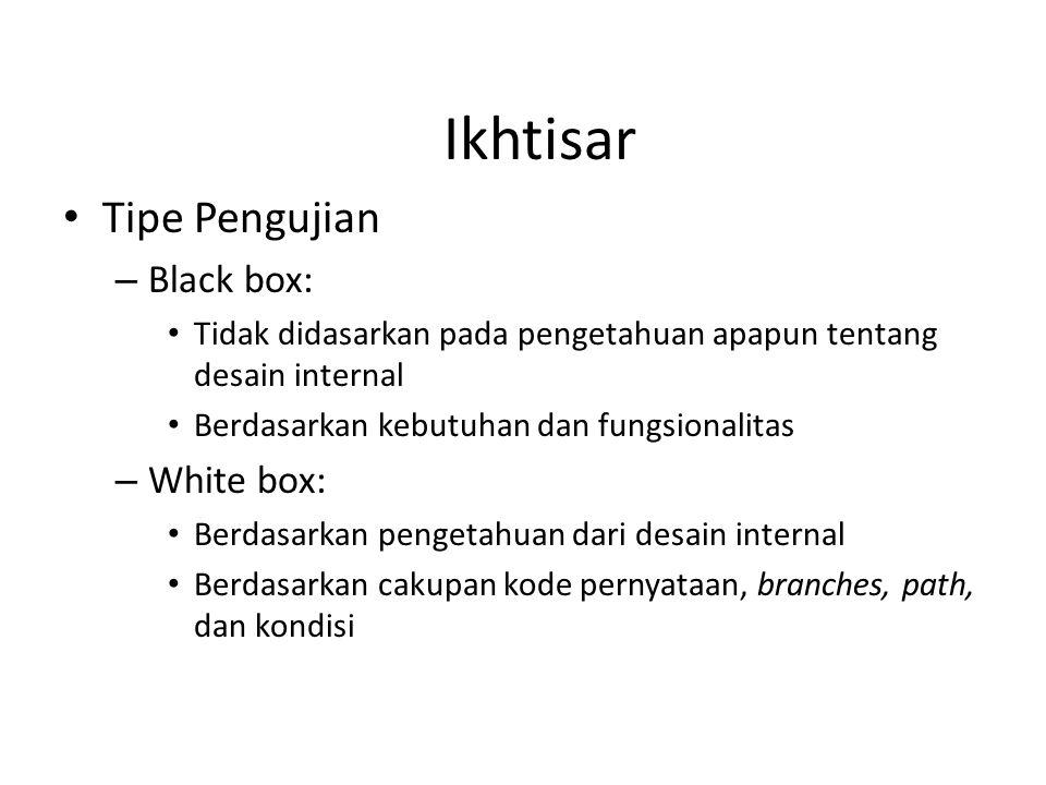 Ikhtisar Tipe Pengujian Black box: White box: