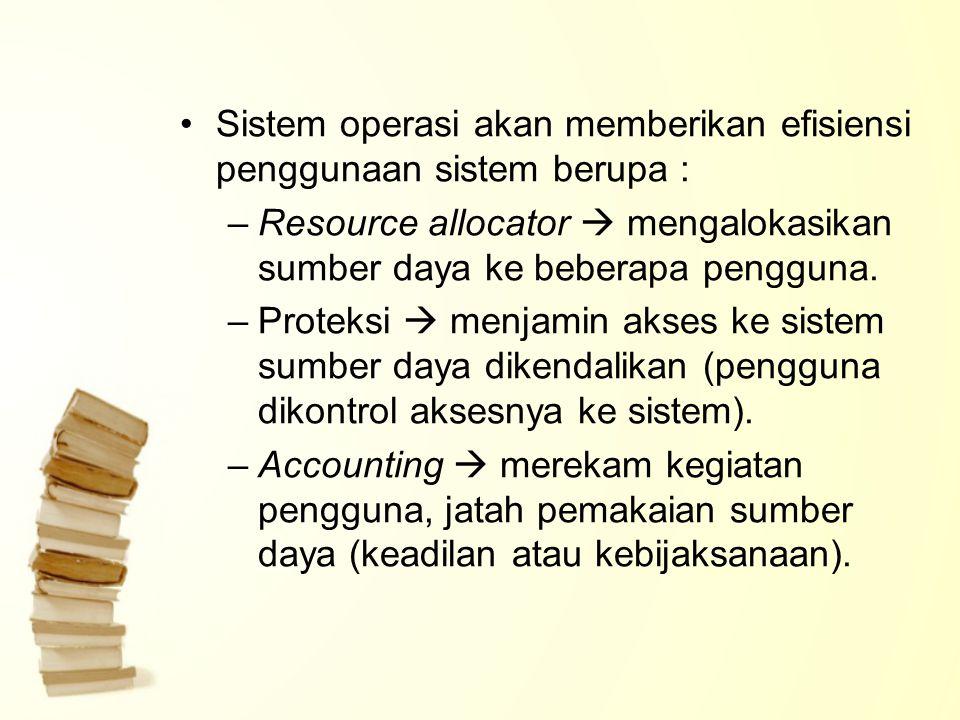 Sistem operasi akan memberikan efisiensi penggunaan sistem berupa :