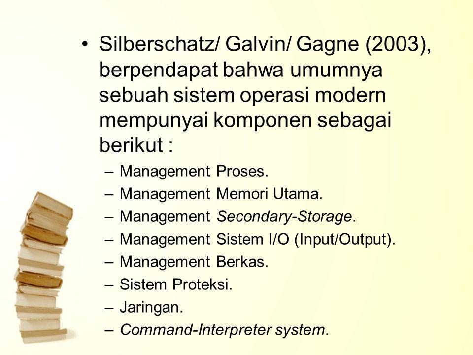 Silberschatz/ Galvin/ Gagne (2003), berpendapat bahwa umumnya sebuah sistem operasi modern mempunyai komponen sebagai berikut :