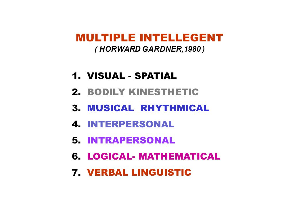 MULTIPLE INTELLEGENT ( HORWARD GARDNER,1980 )
