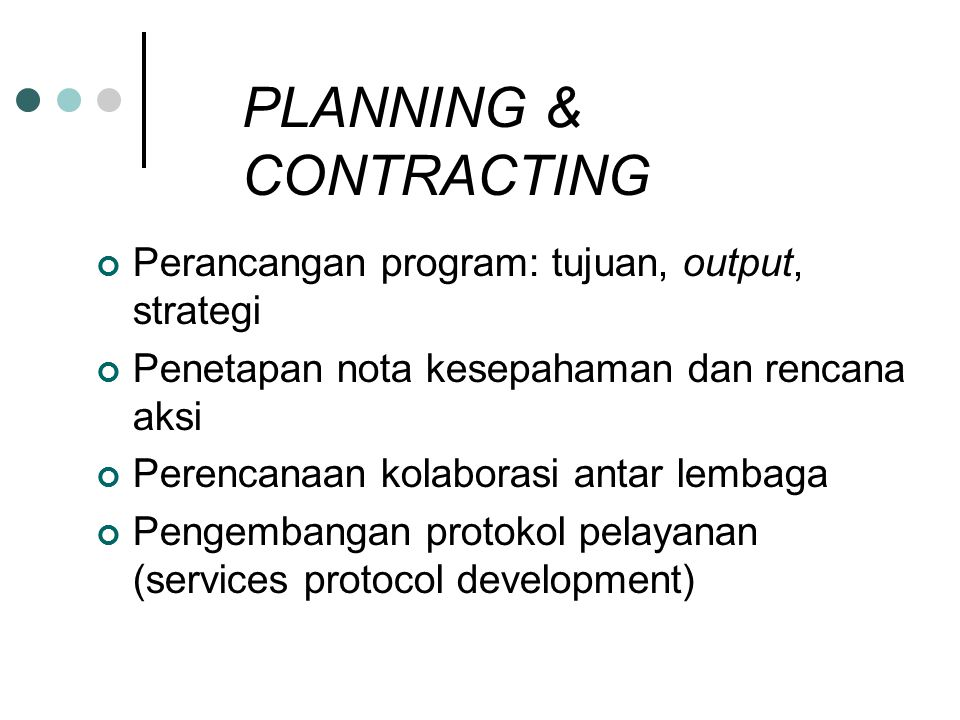 PLANNING & CONTRACTING