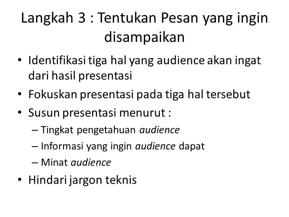 Langkah 3 : Tentukan Pesan yang ingin disampaikan