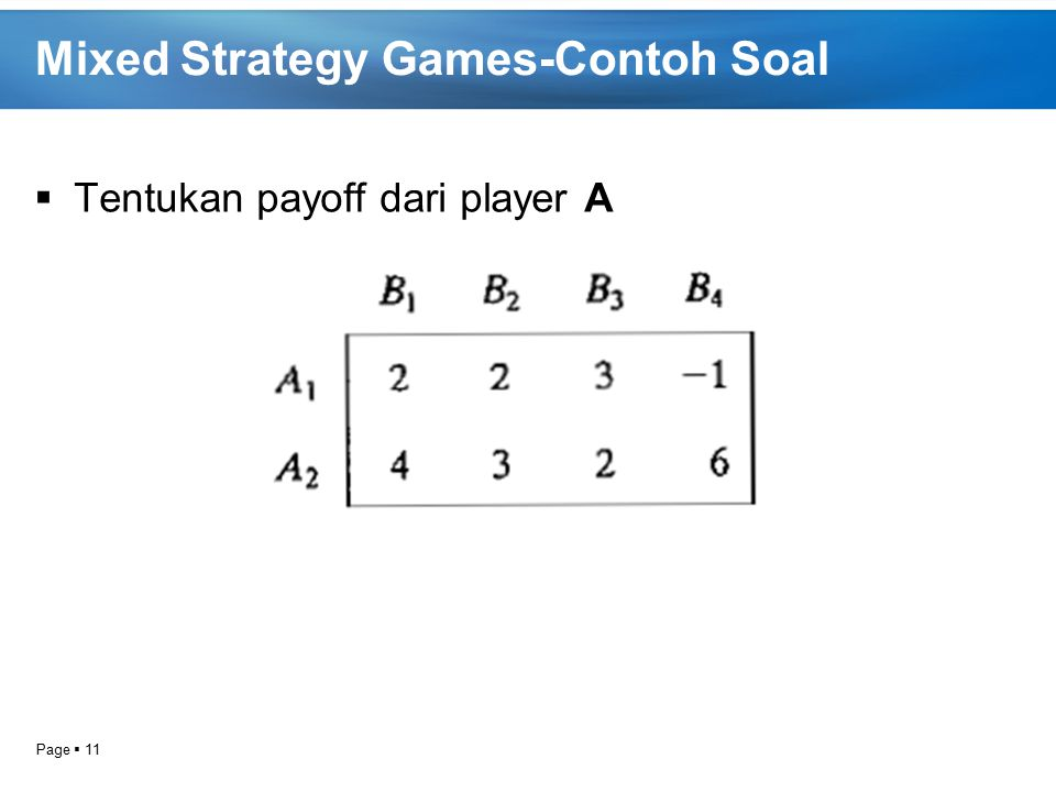 Mixed Strategy Games-Contoh Soal