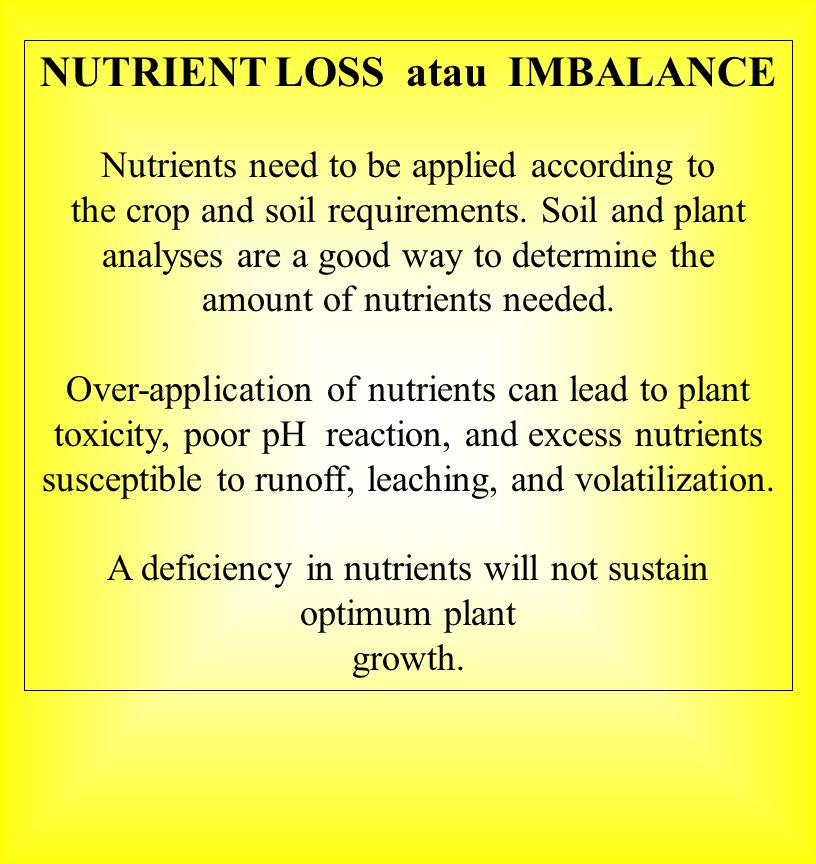 NUTRIENT LOSS atau IMBALANCE