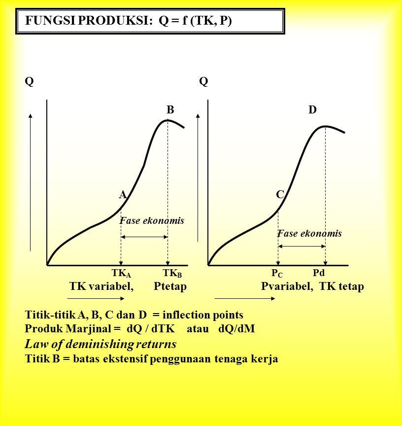FUNGSI PRODUKSI: Q = f (TK, P)