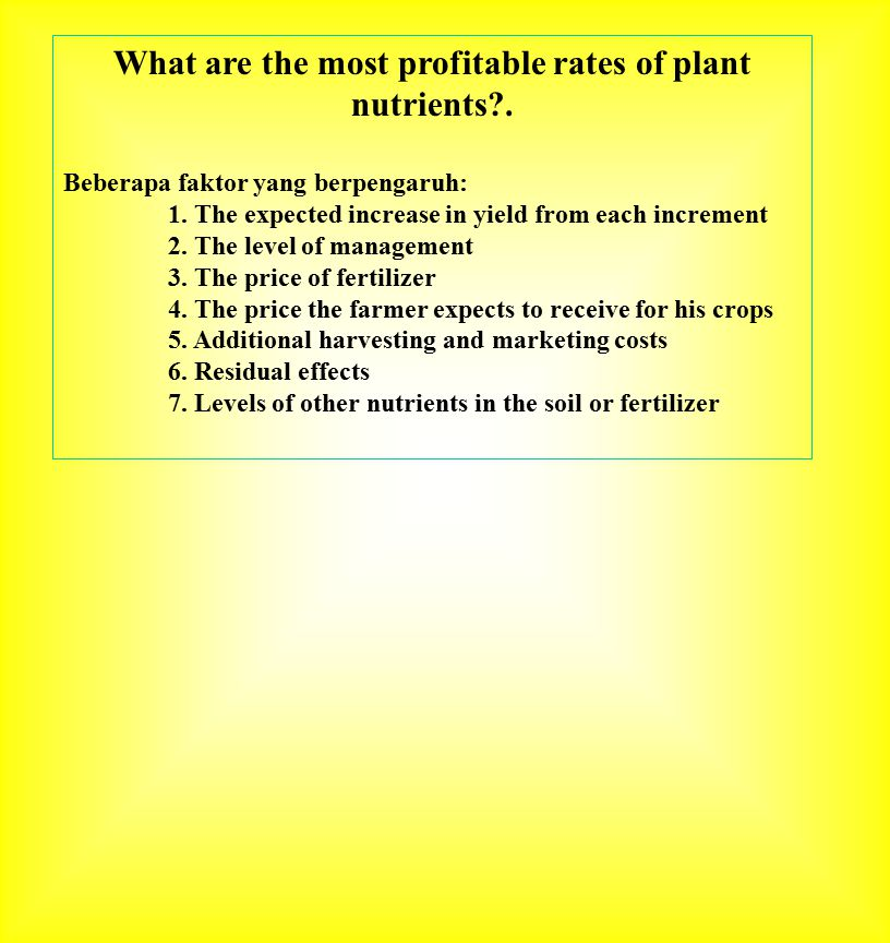 What are the most profitable rates of plant nutrients .