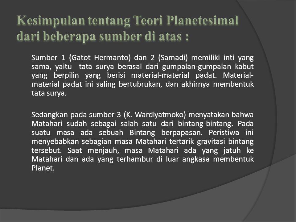 Kesimpulan tentang Teori Planetesimal dari beberapa sumber di atas :