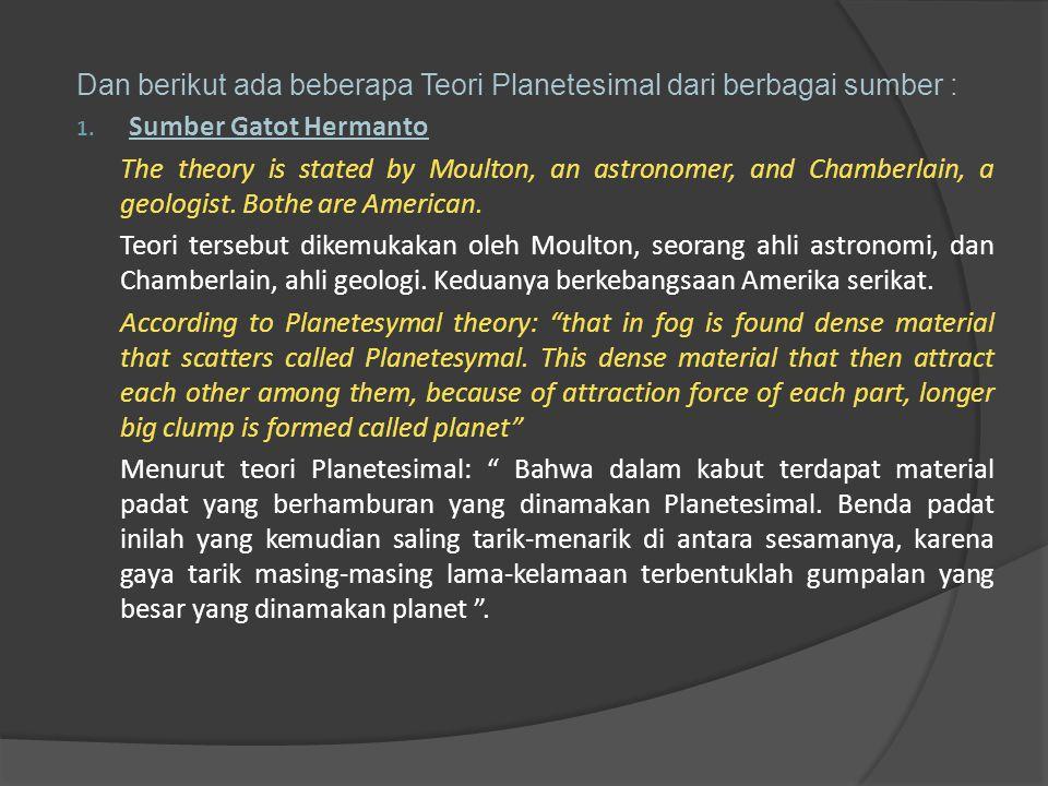 Dan berikut ada beberapa Teori Planetesimal dari berbagai sumber :