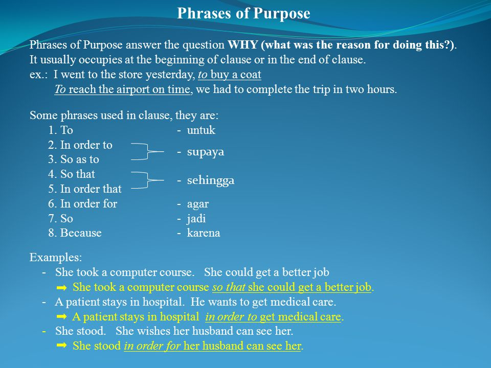 Phrases of Purpose