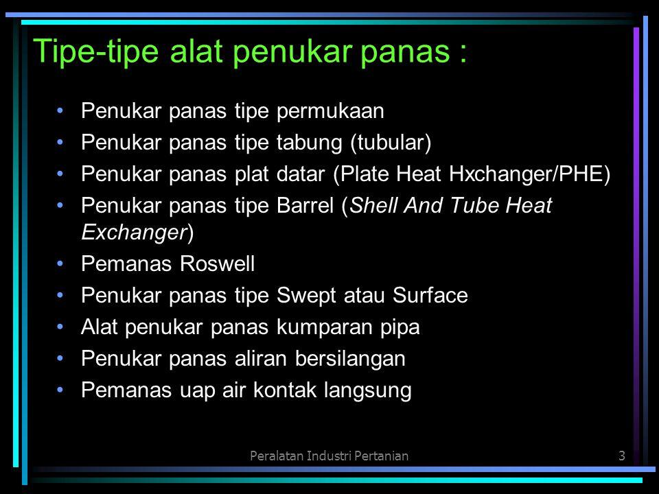 Tipe-tipe alat penukar panas :