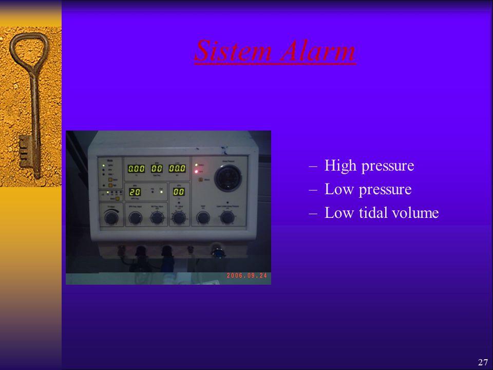 Sistem Alarm High pressure Low pressure Low tidal volume
