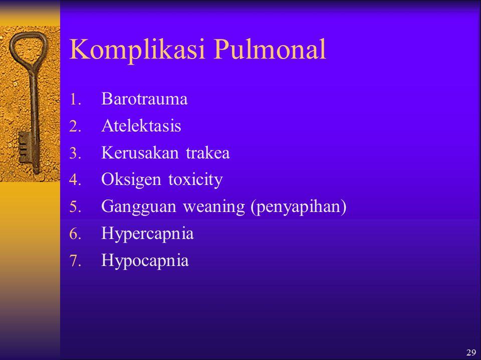 Komplikasi Pulmonal Barotrauma Atelektasis Kerusakan trakea