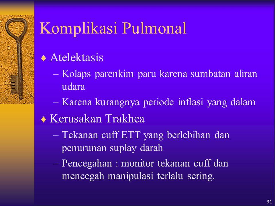 Komplikasi Pulmonal Atelektasis Kerusakan Trakhea