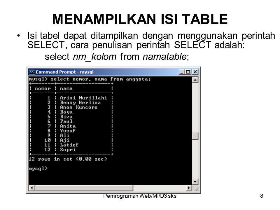 Pemrograman Web/MI/D3 sks