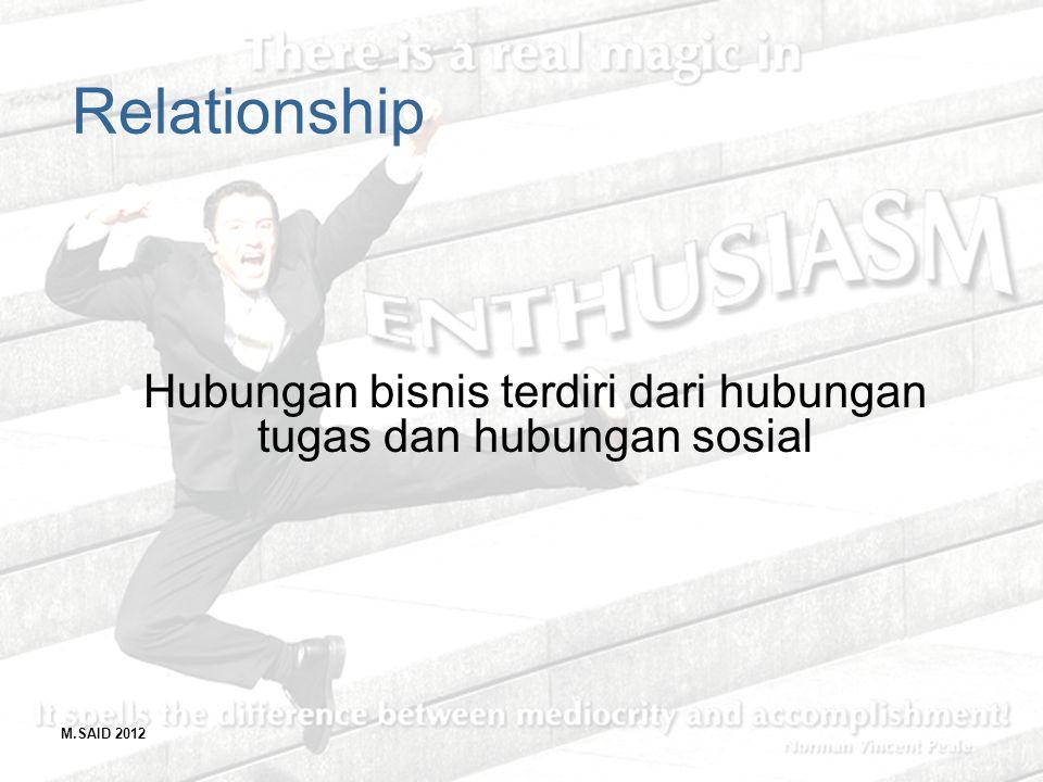 Hubungan bisnis terdiri dari hubungan tugas dan hubungan sosial