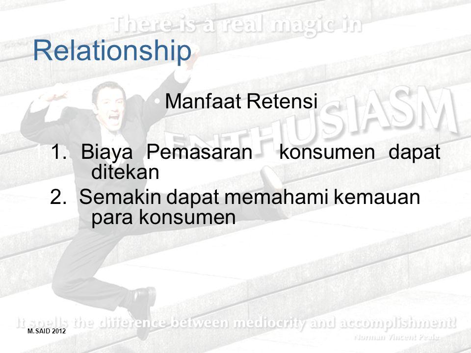 Relationship Manfaat Retensi 1. Biaya Pemasaran konsumen dapat ditekan