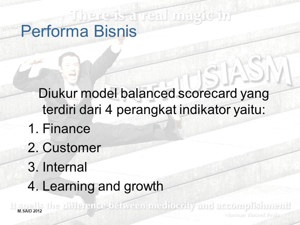Performa Bisnis Diukur model balanced scorecard yang terdiri dari 4 perangkat indikator yaitu: 1. Finance.