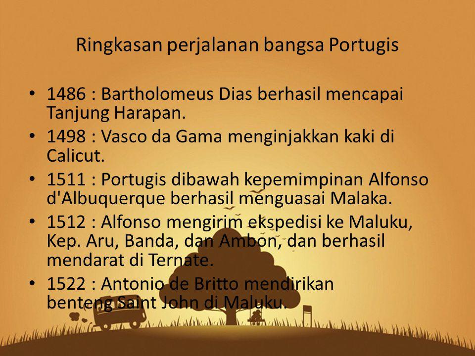 Ringkasan perjalanan bangsa Portugis
