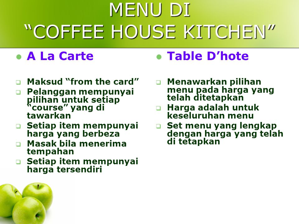 MENU DI COFFEE HOUSE KITCHEN