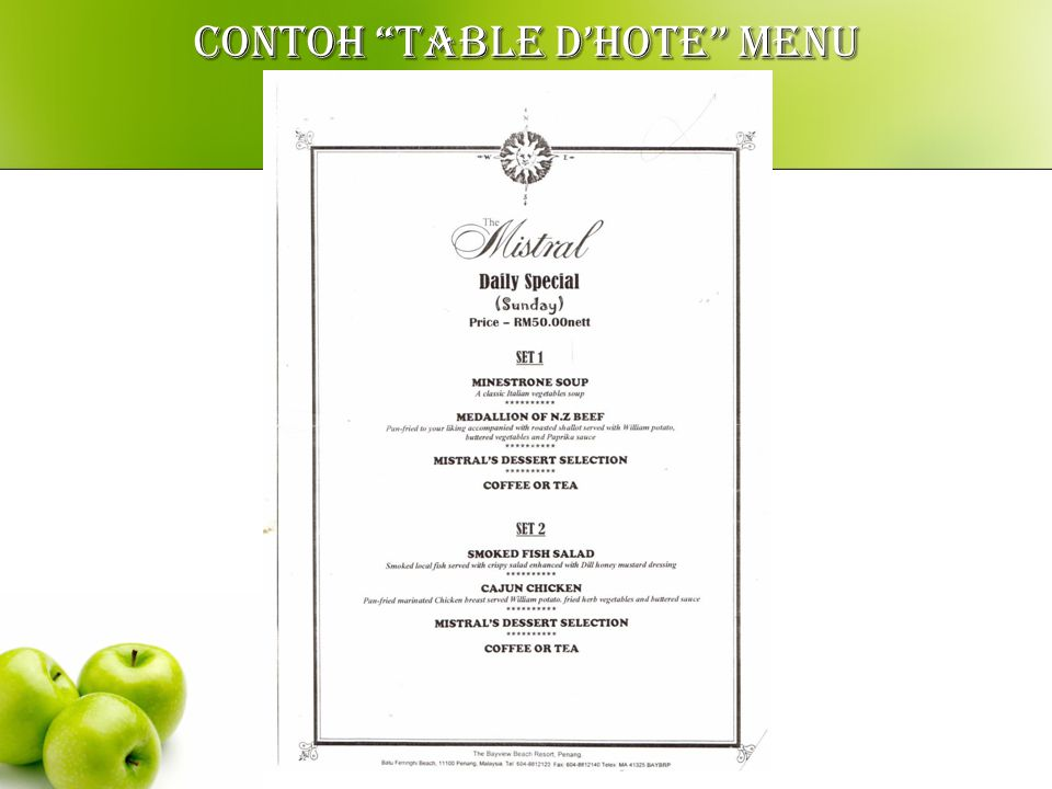 CONTOH TABLE D'HOTE MENU