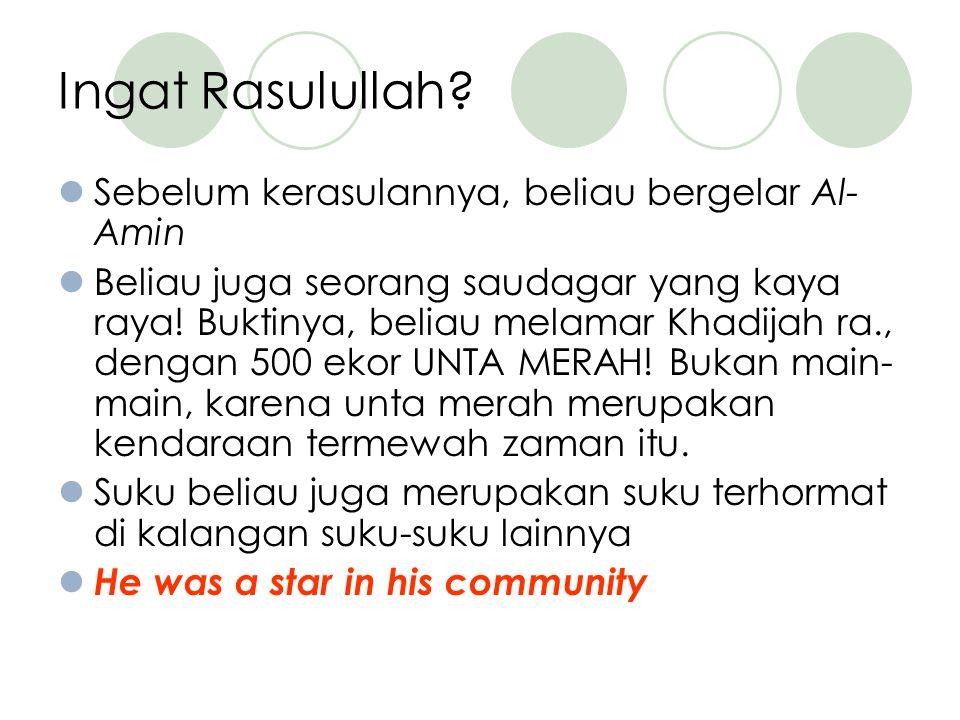 Ingat Rasulullah Sebelum kerasulannya, beliau bergelar Al-Amin