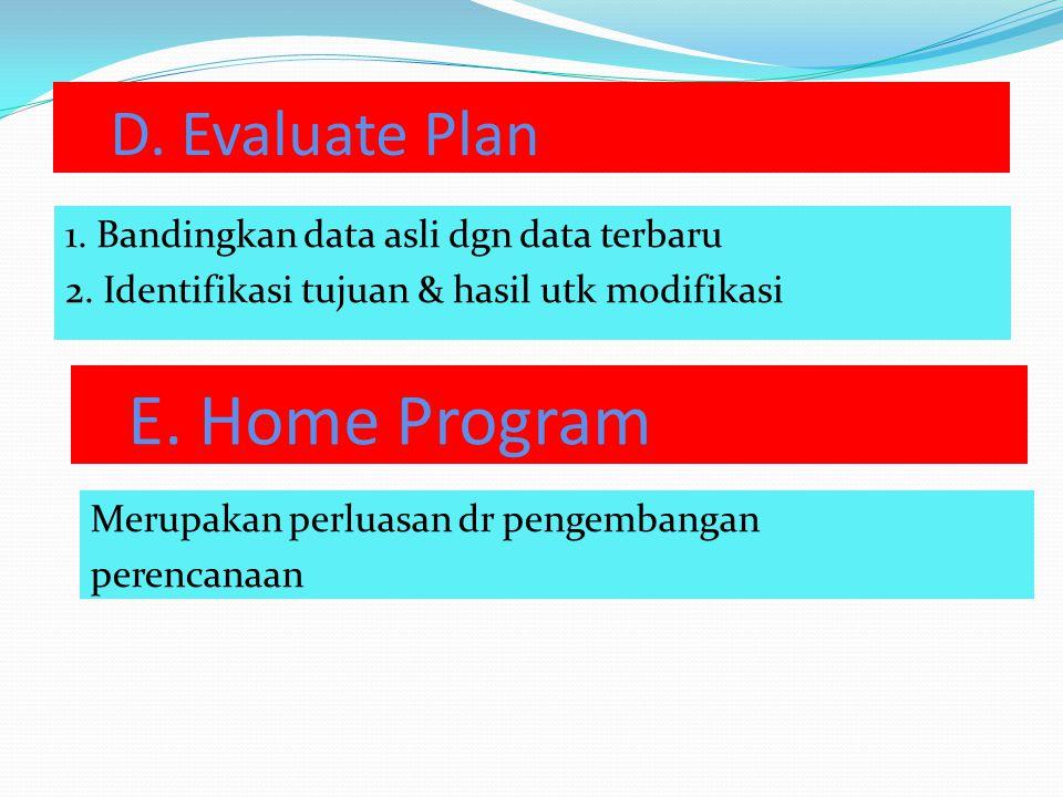 E. Home Program D. Evaluate Plan