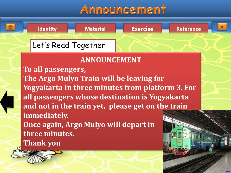 Let's Read Together ANNOUNCEMENT. To all passengers,