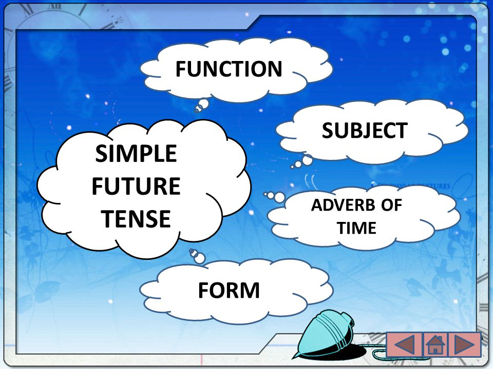 FUNCTION SUBJECT SIMPLE FUTURE TENSE ADVERB OF TIME FORM